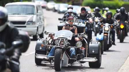 Around 100 of motorbikes followed Robert Stewart's funderal cortege in a mark of respect. Picture: G