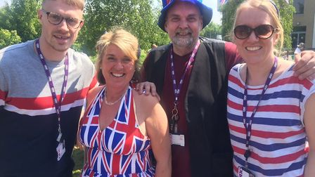 Teachers and students came together to mark the upcoming royal wedding of Prince Harry and Meghan Ma
