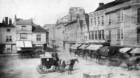 The Cornhill, Ipswich, in the middle of the nineteenth century. Grimwades shop was built on the corn