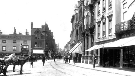 The Cornhill, Ipswich, in 1897. Grimwades shop was extended onto the site of Trundles saddlers and