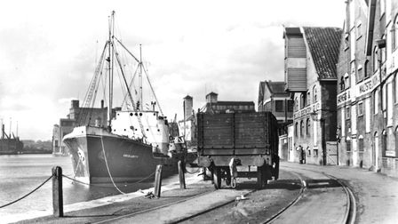 """Neptune Quay, at Ipswich Dock, in the 1950s with the Meux Brewery Company """"Brewers and Malsters"""" on"""