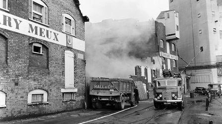In May 1965 the fire brigade were called to Ipswich Dock to deal with a blaze at Neptune Quay as the