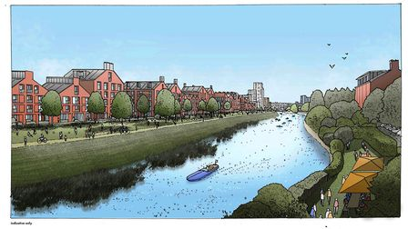 CGI of the Riverside Park Picture: ALLIES AND MORRISON/IPSWICH CENTRAL