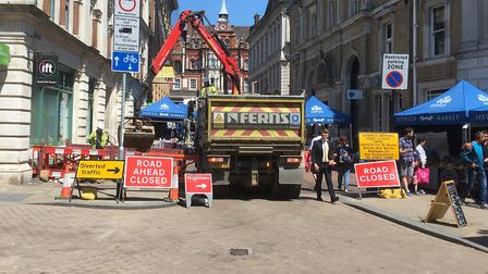 Ipswich market traders were angered by roadworks on their site at the weekend Picture: PAUL GEATER
