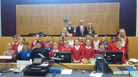 Year six pupils at Holbrook Primary School acted out a mock trial at Ipswich Crown Court for last ye