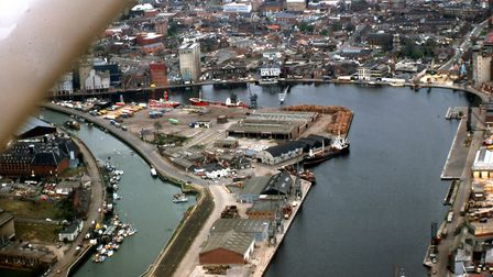 The island site at Ipswich Dock was far more industrialised when this photograph was taken in 1982