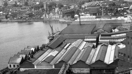 A view across some of the roof tops of Ransomes Sims and Jefferies Orwell works, from the gas works