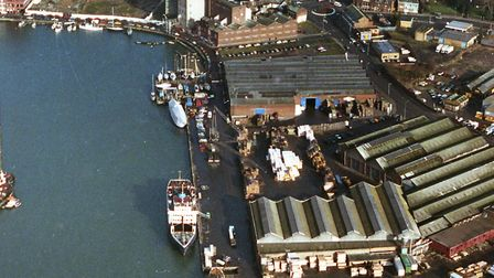 An aerial view, from February 1992, taken from over the lock gates looking along the quay once occup