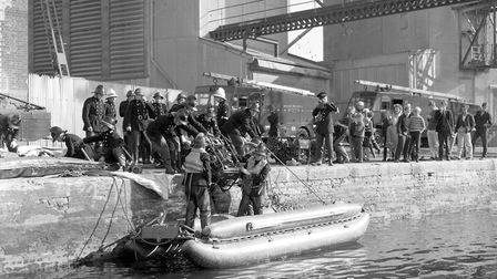 A group of children gathered on Neptune Quay to watch firefighters taking part in a training exercis