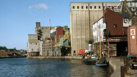 A view from Wherry Quay, looking towards Common Quay and Albion Wharf, in October 1982. The R and W
