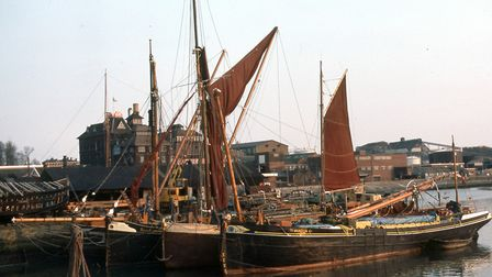 Barges moored close to a shipyard just outside the lock at Ipswich Dock in the 1970s. The Tolly Cobb
