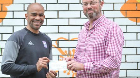 Kieron Dyer with David Hockley, Chief Executive of Fresh Start New Beginnings. Picture: SARAH LUCY