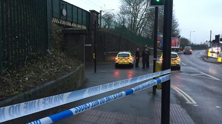 The police cordon in place at Ancaster Road. Picture: ARCHANT