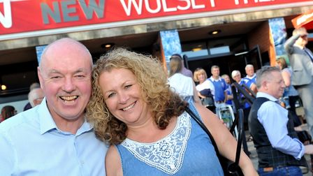 Former Town player John Wark, who played in the match against Arsenal in 1978, pictured with his wif