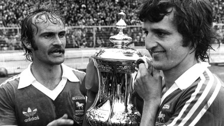 Roger Osborne and Mick Mills after Ipswich won the FA Cup in 1978. Picture: OWEN HINES