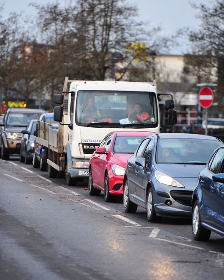 Heavy traffic along Grafton Way in Ipswich due to the closure of the Orwell bridge. Picture: SARAH