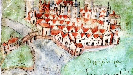 A sketch of Ipswich from the very early 16th Century. It is the earliest known illustration of the t