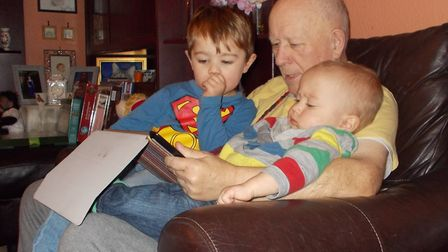 Chris Fendley with his two youngest grandchildren. Picture: CONTRIBUTED BY FAMILY