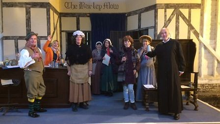 Members of the cast for The Barley Players' production The Great Exhibition of Witnesham 1851, with