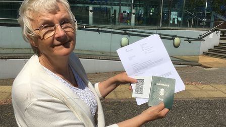 Inga Lockington with her letter from the Home Office and her Danish passport from the 1970s Picture