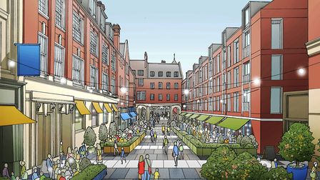 CGI of proposal for Lloyds Avenue. Could this be a centre for outdoor cafes?Picture: ALLIES AND MORR
