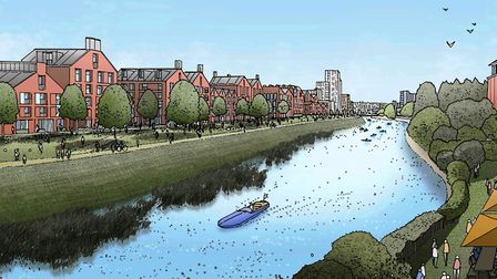 CGI of the Riverside Park - a nice idea, but don't muddy the water by trying to move Cineworld and d