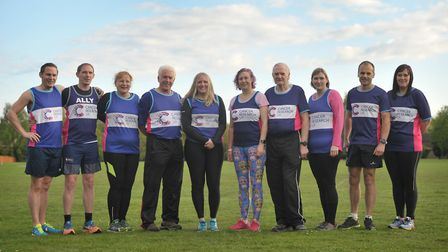 Nichola Whymark (centre) with supporters of Run for Research Picture: SARAH LUCY BROWN