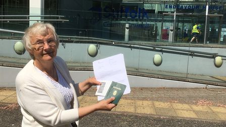 Inga Lockington with her letter from the Home Office and her Danish passport from the 1970s Picture: