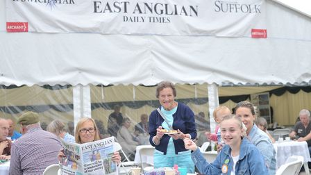 Visitors enjoy the East Anglian Daily Times and Ipswich Star tea tent Picture: SARAH LUCY BROWN
