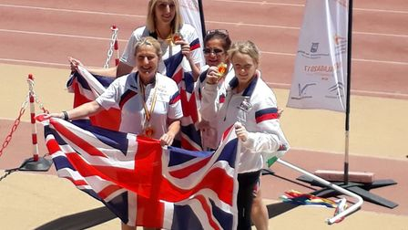 Michelle Mitchell and the gold medal winning relay team at the World Transplant Games Picture: ADRIA