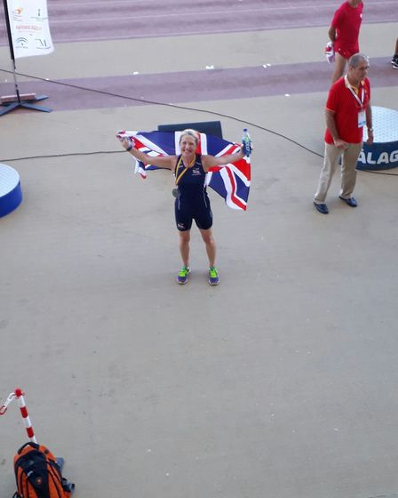 Michelle Mitchell celebrates one of her silvers at the World Transplant Games Picture: ADRIAN MITCHE