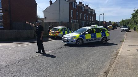 Bramford Lane in Ipswich is closed from the junction at Wallace Road and there is a large police pre