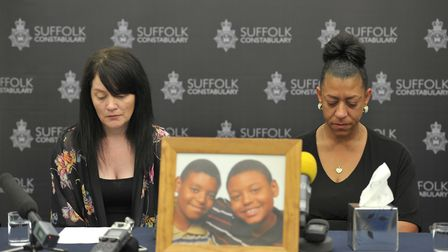 Stepmother of Tavis Spencer-Aitkens, Helen Forbes, and Tavis' mother, Sharon Box, at the press confe