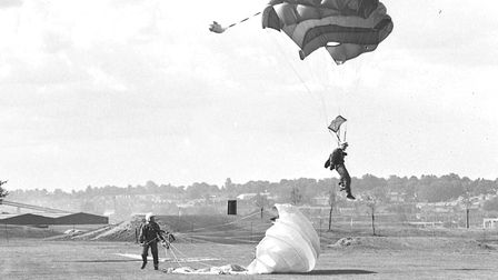Parachuting at Great Ipswich Play Day at Landseer Park in 1981 Picture: RICHARD SNASDELL