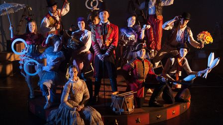 Peter Ling as Barnum with Harriet Bacon as Charity and some of the Co-op Juniors cast appearing in B