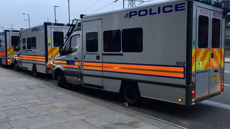 Police vans on operational activity. Picture: METROPOLITAN POLICE