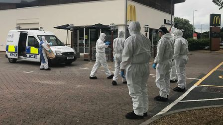 Forensics officers outside Ravenswood McDonald's on Thursday, June 14 Picture: ARCHANT