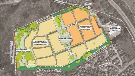 Aerial plans for the layout of the Martlesham police HQ site 250 homes Picture: YELLOBELLY