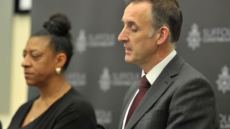 DCI Mike Brown with Tavis Spencer-Aitkens' mother, Sharon Box, at a press conference Picture: SAR