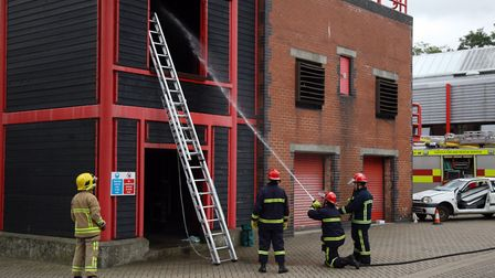 Firefighters demonstrate their skills during an open day in Bury St Edmunds Picture: PHIL MORLEY