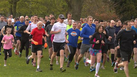 Runners taking part in a parkrun at Chantry Park, Ipswich Picture: SIMON PARKER