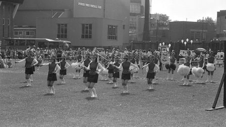 A band on the pitch at Portman Road in 1986 Picture: ARCHANT