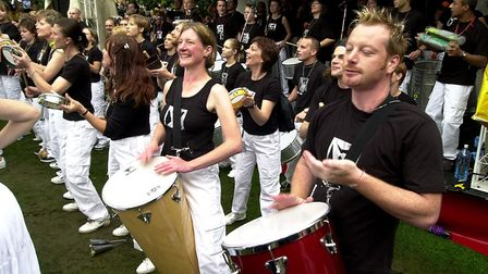 Members of the Suffolk School of Samda perform on one of the many stages at Ipswich Music Day in 200