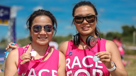 Pui and Carmen after running the Race for Life Picture: STEPHEN WALLER