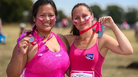 Lucky and Roxanne after running the Race for Life Picture: STEPHEN WALLER