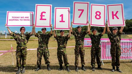 Air Force cadets hold up the estimated total raised over the Race for Life weekend Picture: STEPHEN