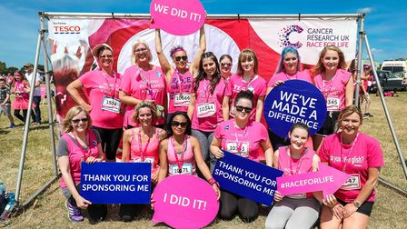 Martlesham Madams after running in the Race for Life at Trinity Park Picture: STEPHEN WALLER