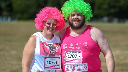 Becki Whitelock and Nick(y) Williams running for team Sanchia in the Race for Life at Trinity Park P