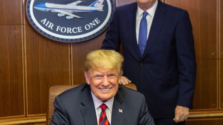 Piers Morgan with Donald Trump on Air Force One. Picture: Contributed