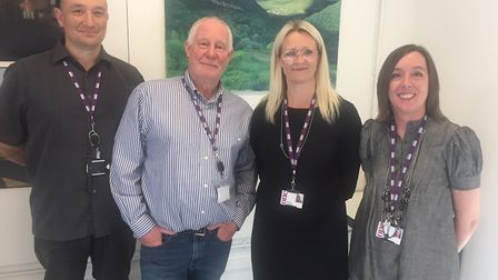 Kim Barclay, Steve Talmadge, Emma Connolly and Melanie Moore of One Sixth Form College in Ipswich Pi